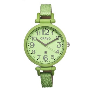 Crayo Women's 'Balloon Mint' Leather Strap Analog Watch