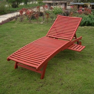 Wood chaise lounges overstock shopping the best prices for Acacia wood chaise lounge