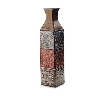 Elements 24-inch 4-color Tile Embossed Iron Vase