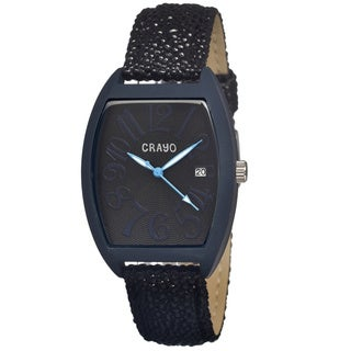 Crayo 'Spectrum Black/ Navy' Leather Strap Analog Watch