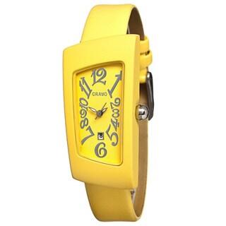 Crayo Women's Angles Yellow Leather Analog Watch