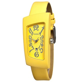 Crayo Women's Angles Yellow Leather Analog Watch