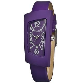 Crayo Women's Angles Purple Leather Analog Watch