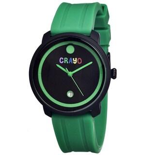 Crayo Men's Fresh Black/ Green Rubber Analog Watch