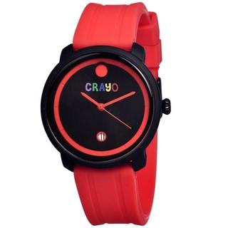 Crayo Men's Fresh Black/ Red Rubber Analog Watch