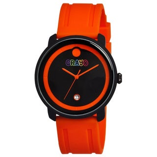 Crayo Men's Fresh Black/ Orange Rubber Analog Watch