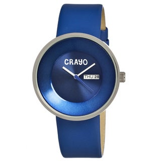 Crayo Men's 'Button Blue' Leather Strap Analog Watch