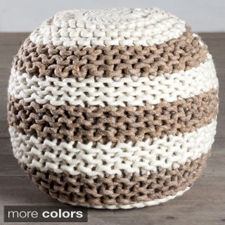 Handcrafted Aquarius Wool Pouf (India)