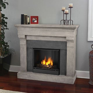 Real Flame Torrence Cinder Stone Gel Cast Fireplace