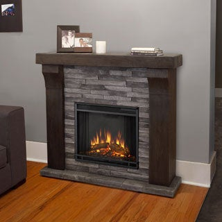 Real Flame Avondale Grey Ledgestone Electric Cast Fireplace