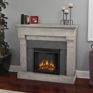 Real Flame Torrence Cinder Stone Electric Cast Fireplace