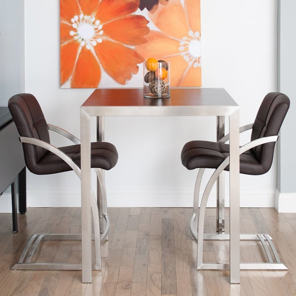 Skyler Square Espresso Wood Top Brushed Stainless Steel Pub Table