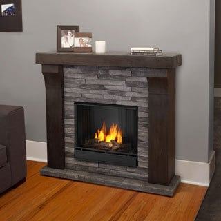 Real Flame Avondale Grey Ledgestone Gel Cast Fireplace