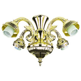 Ornate Polished Brass Pull Chain Fan Light Kit