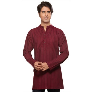 In-Sattva Akkriti Men's Kurta Long Tunic Banded Collar Multi-stripe Shirt