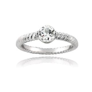 Glitzy Rocks Sterling Silver White Topaz Rope Design Ring