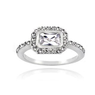 Glitzy Rocks Sterling Silver Emerald-cut White Topaz Ring
