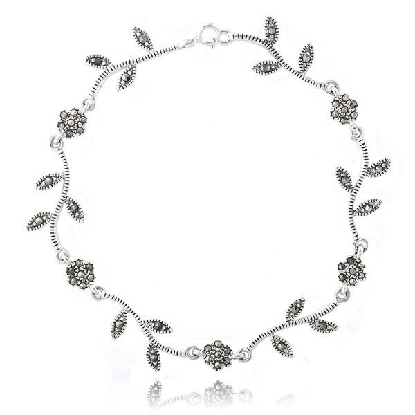Glitzy Rocks Sterling Silver Marcasite Floral Bracelet