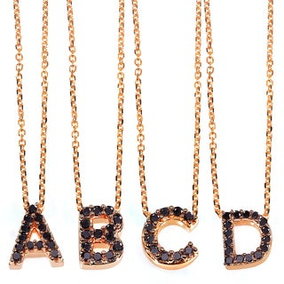 Annello Rose Gold Black Diamond Accent Mini Initial Letter Necklace