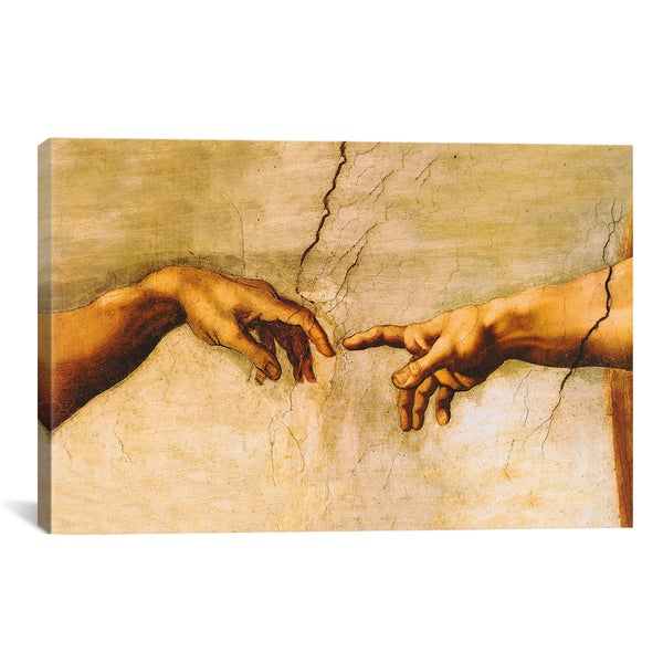 The Creation of Adam by Michelangelo Canvas Print Wall Art