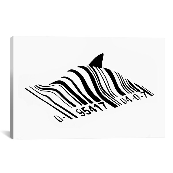 Banksy Barcode Shark Canvas Print Wall Art