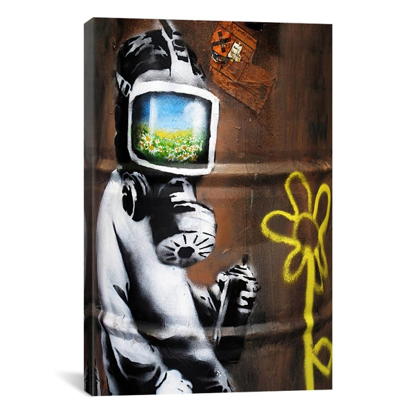 Banksy Sunflower Field Gas Mask Girl Canvas Print Wall Art