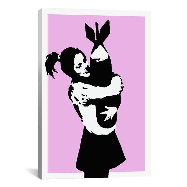 Banksy Bomb Hugger Girl Hugging Bomb Canvas Print Wall Art