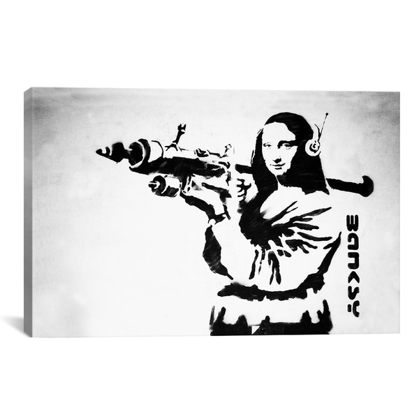 Banksy Mona Lisa With Bazooka Rocket Canvas Print Wall Art