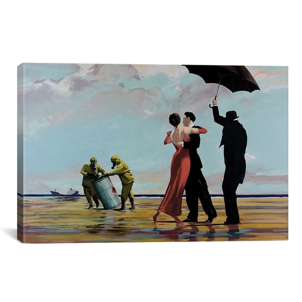 Banksy Dancing Butler On Toxic Beach Crude Oil Canvas Print Wall Art