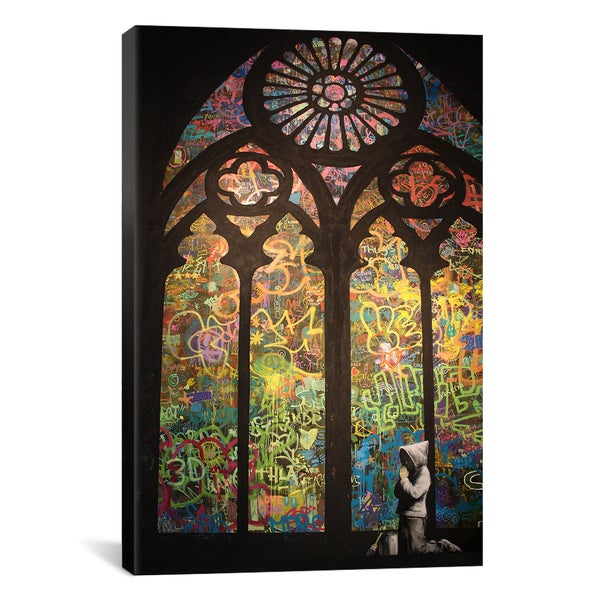 Graffiti Stained Window Canvas Print Wall Art