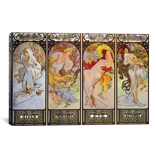 Les Saisons by Alphonse Mucha Canvas Print Wall Art