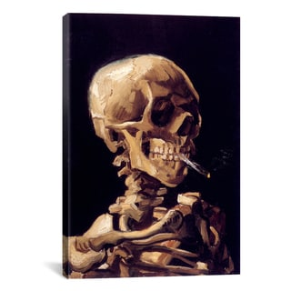 Skull With Cigarette by Vincent van Gogh Canvas Print Wall Art