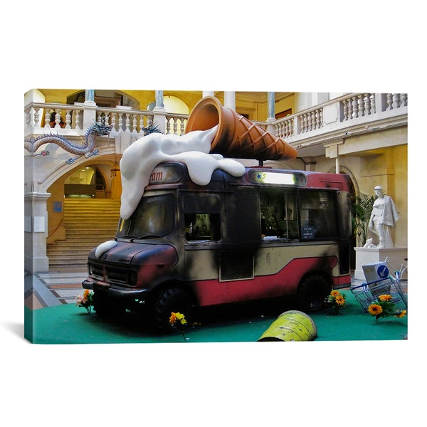 Banksy Ice Cream Van Truck Canvas Print Wall Art
