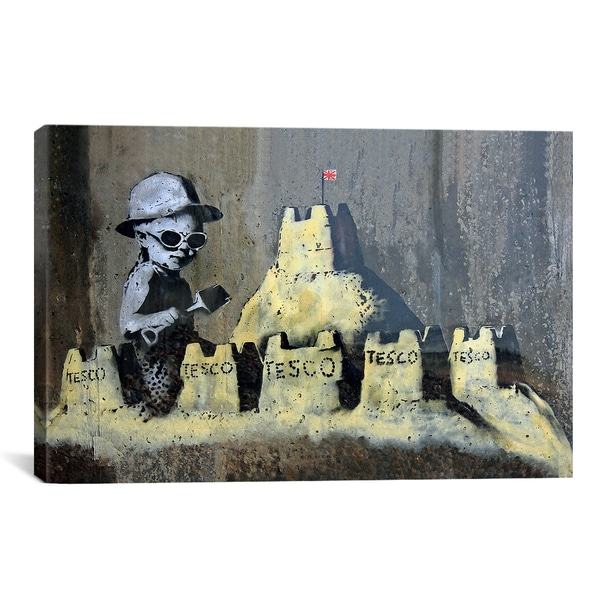 Banksy Tesco Sandcastle Canvas Print Wall Art