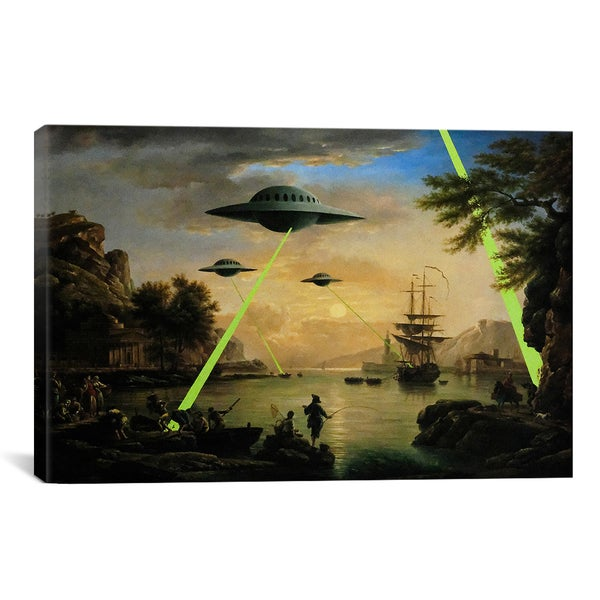 Banksy Flying Saucers Aliens Canvas Print Wall Art