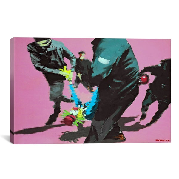 Banksy You Told That Joke Twice Clown Canvas Print Wall Art