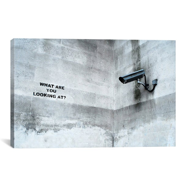 Banksy What Are You Looking At Security Camera Canvas Print Wall Art