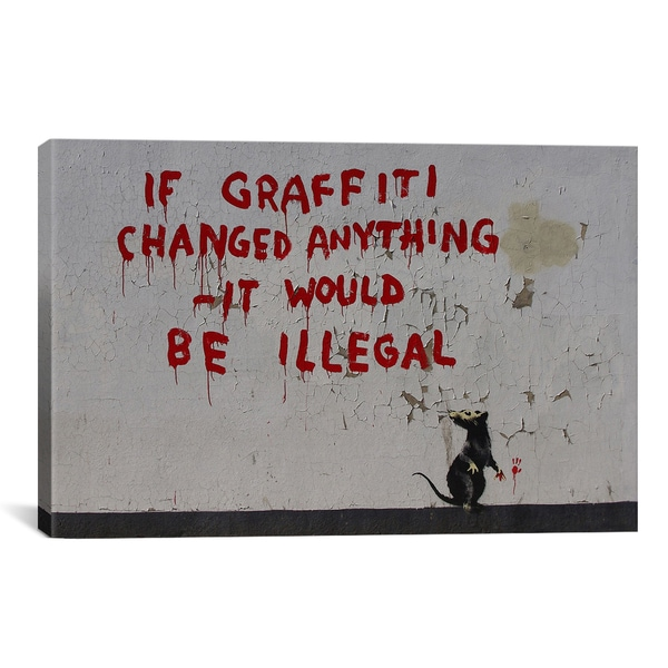 Banksy If Graffiti Changed Anything Canvas Print Wall Art