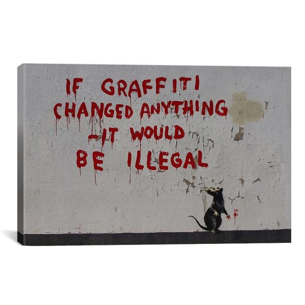 Banksy If Graffiti Changed Anything Canvas Print Wall Art