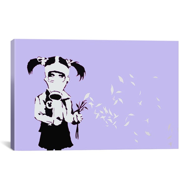 Banksy Gas Mask Girl Purple Canvas Print Wall Art