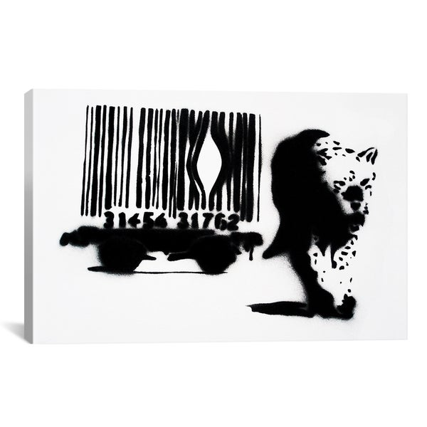 Banksy Barcode Leopard Tiger Canvas Print Wall Art