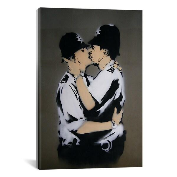 Banksy Gay Cops Kissing Canvas Print Wall Art