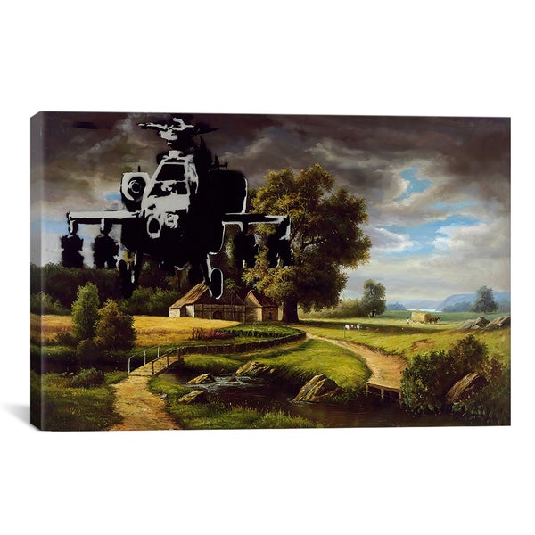 Banksy Apache Helicopter Over Farm Field Canvas Print Wall Art