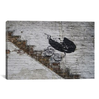 Banksy Baby Carriage Rolling Down Stairs Canvas Print Wall Art