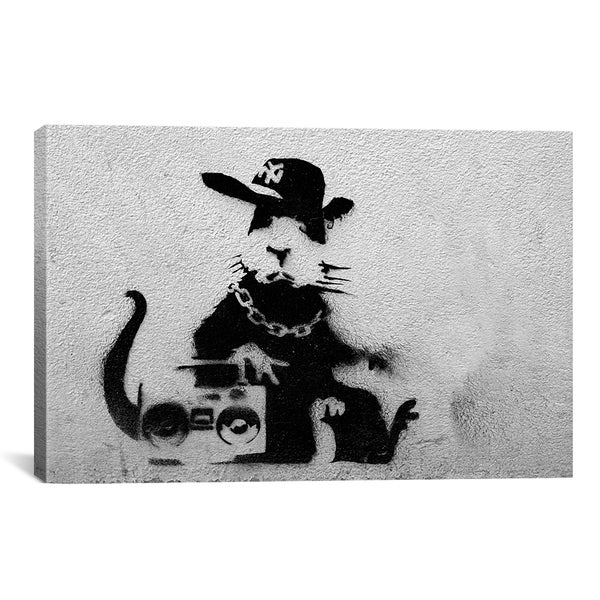 iCanvas Banksy Gangster Rat Canvas Print Wall Art 12399048