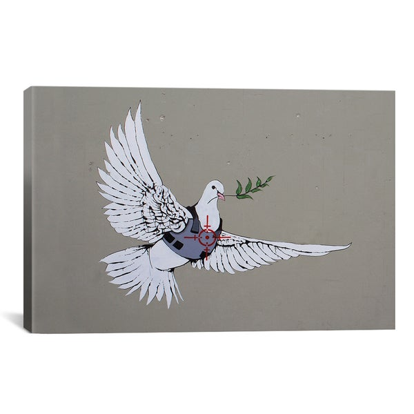 Banksy Armoured Peace Dove Canvas Print Wall Art