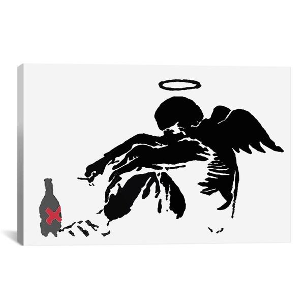 Banksy Drunken Fallen Angel Black Canvas Print Wall Art