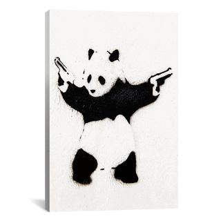 iCanvas Banksy Panda With Guns Canvas Print Wall Art