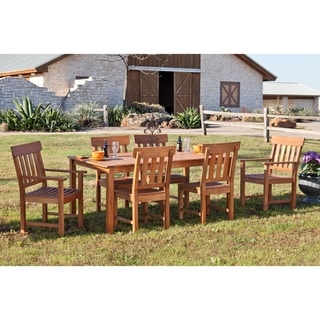 Upton Home Landry Hardwood Outdoor 7pc Dining Set with Side and Arm Chairs
