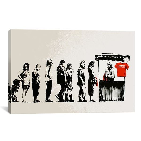 Banksy Destroy Capitalism Canvas Print Wall Art